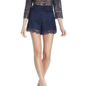 Lovers + Friends Navy Blue Lace Shorts